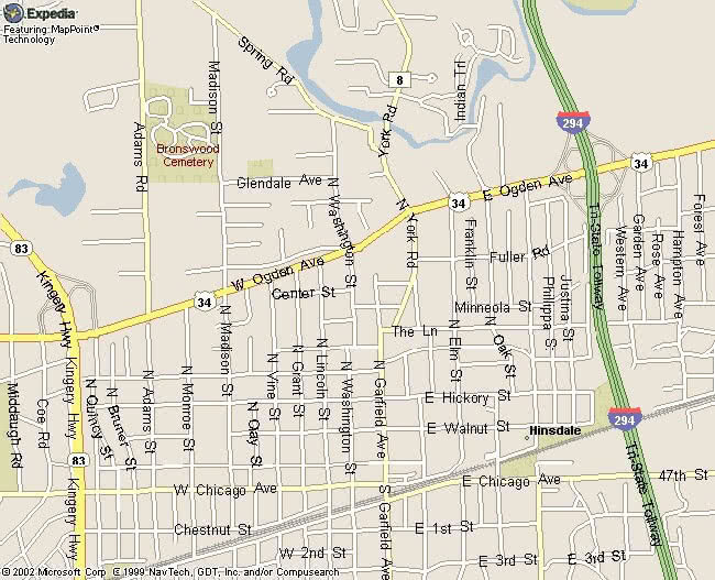 Map of the Northside of Hinsdale Illinois