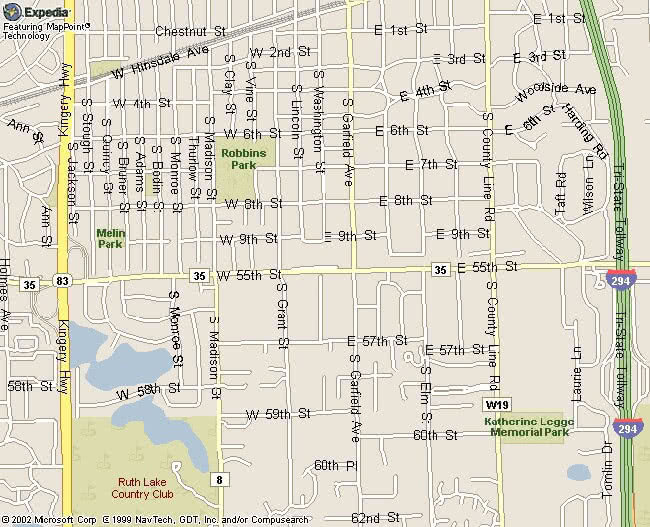 Map of the Southside of Hinsdale Illinois