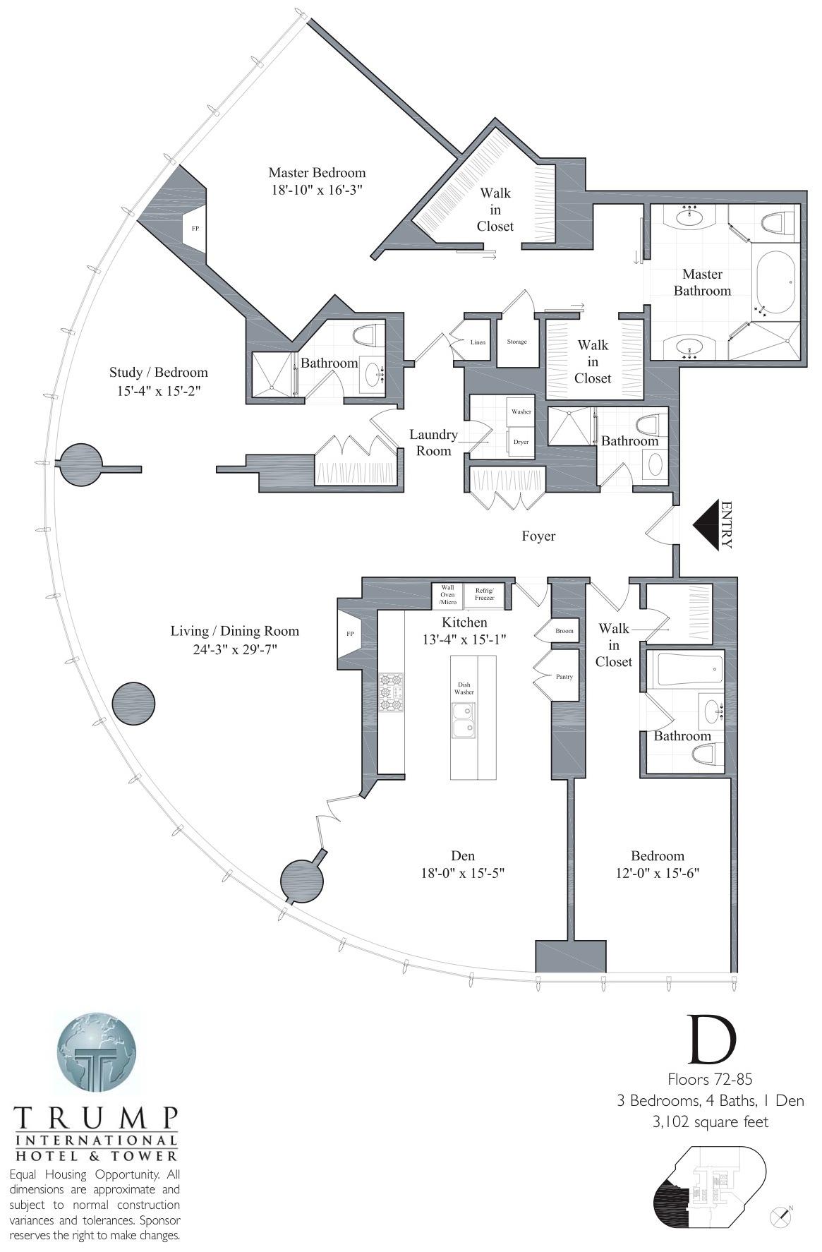 72 85D trump tower chicago, 401 n wabash, floor plans, views,Trumps Housing Plan