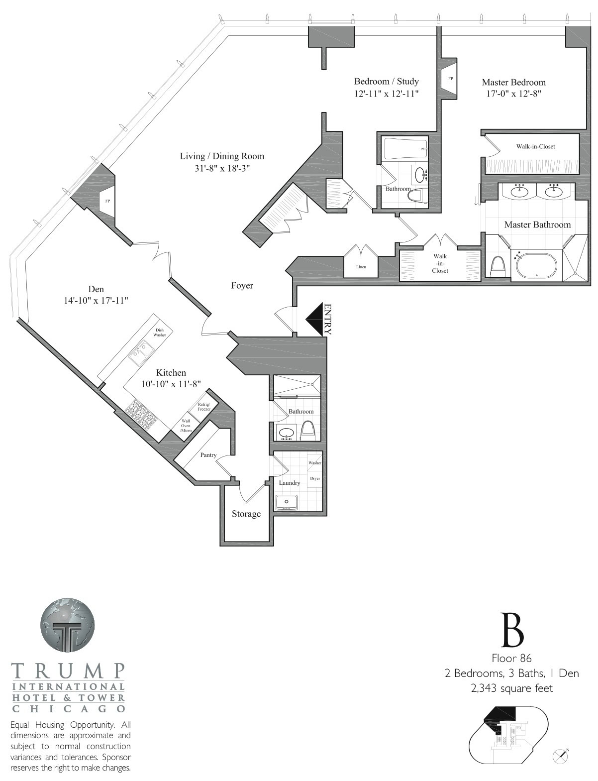 Trump Tower Chicago, 401 N Wabash, floor plans, views